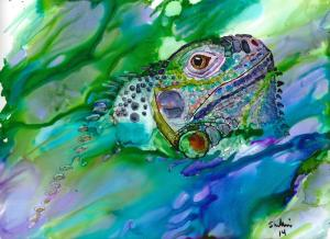 Iguana Emerging with details copy