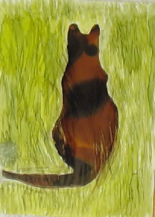 Cat In The Grass - Masking, Pouring and Brushwork