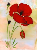 Poppy: Pourings, Brushwork, Marker